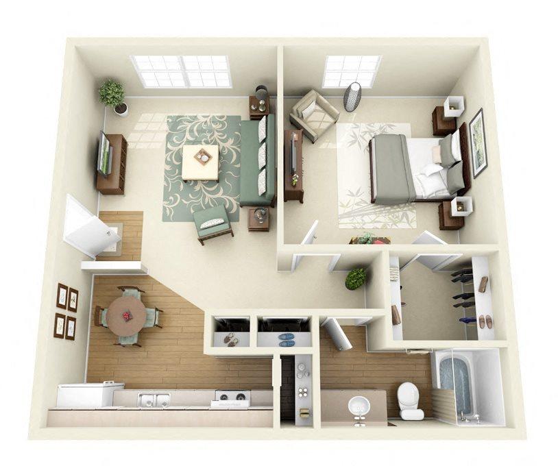 Sequoia 1 bedroom 1 bathroom floorplan