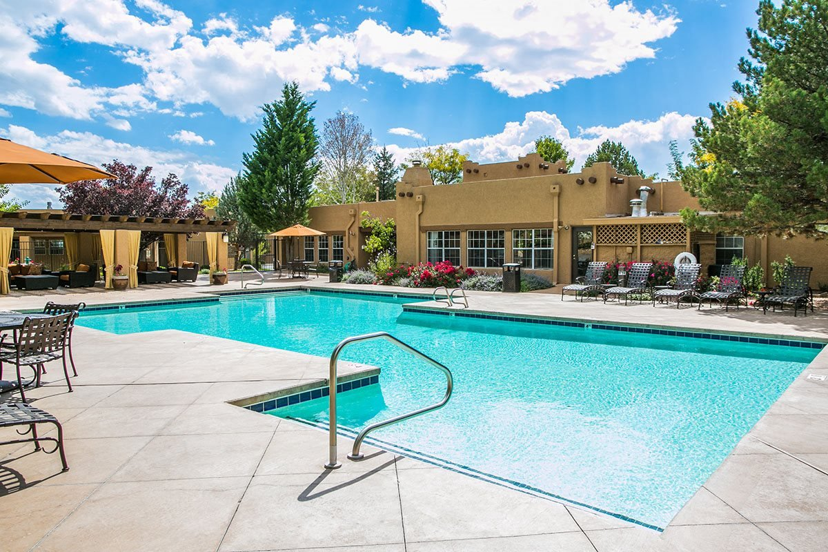 Sparkling Salt Water Pool at Best Apartments in Santa Fe