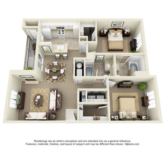 Cascade Two Bedroom Two Bathroom Floor Plan 3D Image
