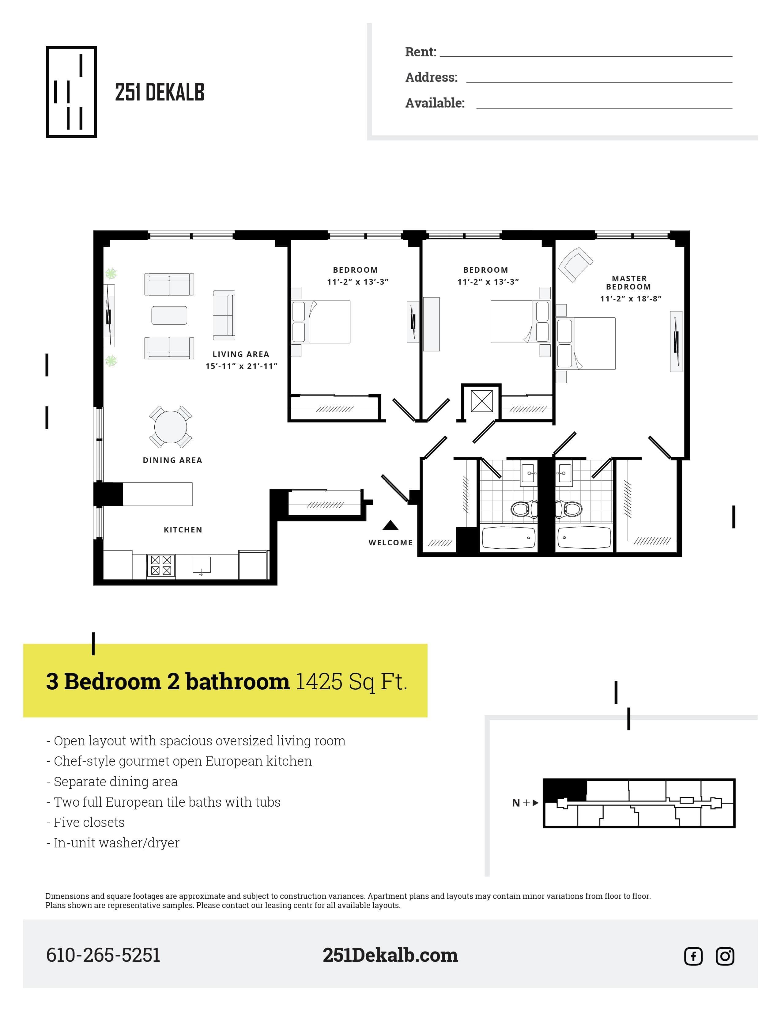 3 Bed 2 Bath Deluxe Floor Plan 16