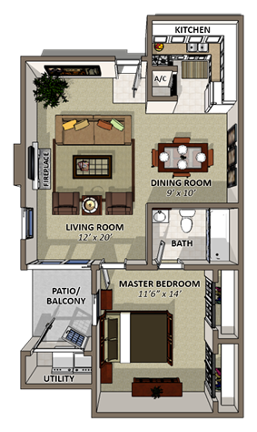 Sand Dollar Floor Plan at Coquina Bay Apartments in Jacksonville
