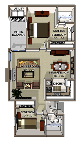 Atlantic Floor Plan at Coquina Bay Apartments for rent in Jacksonville FL