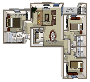 Kings Crown Floor Plan at Coquina Bay Apartments in Jacksonville FL