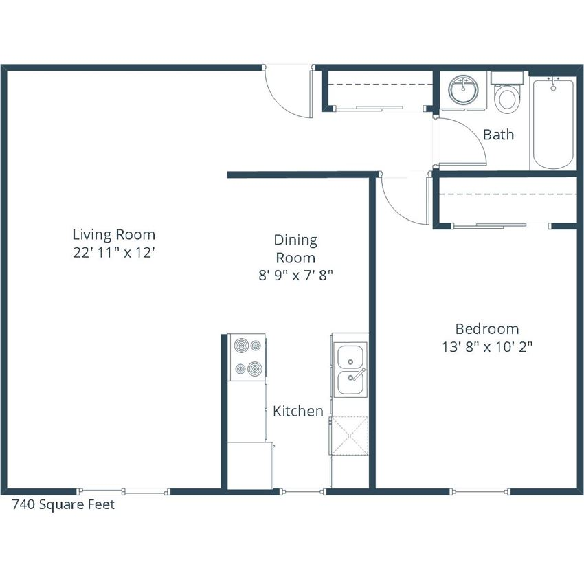Georgetown on the River Apartments | One Bedroom Floor Plan B