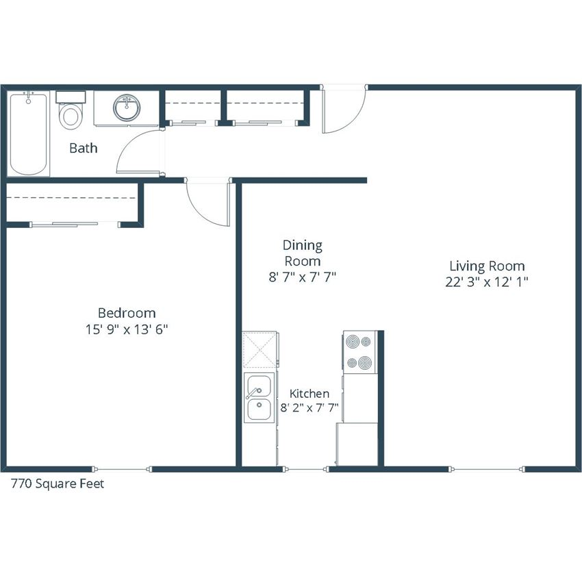 Georgetown on the River Apartments | One Bedroom Floor Plan C
