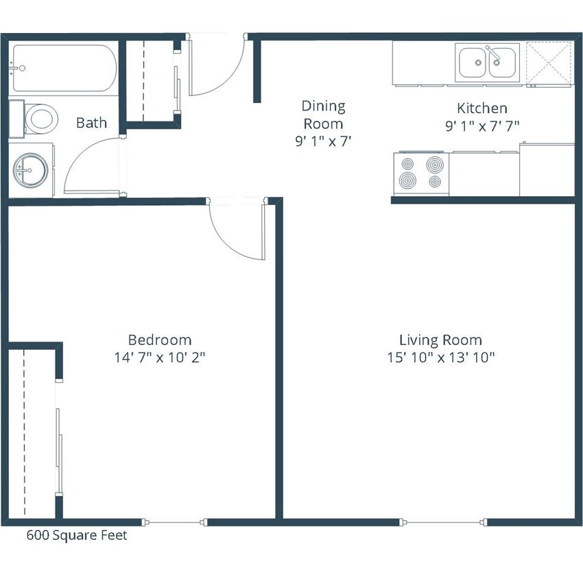 Georgetown on the River Apartments | One Bedroom Floor Plan D
