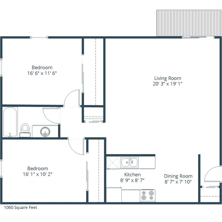 Georgetown on the River Apartments | Two Bedroom Floor Plan A