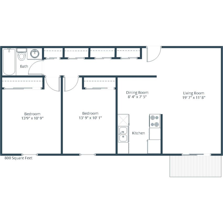 Georgetown on the River Apartments | Two Bedroom Floor Plan B