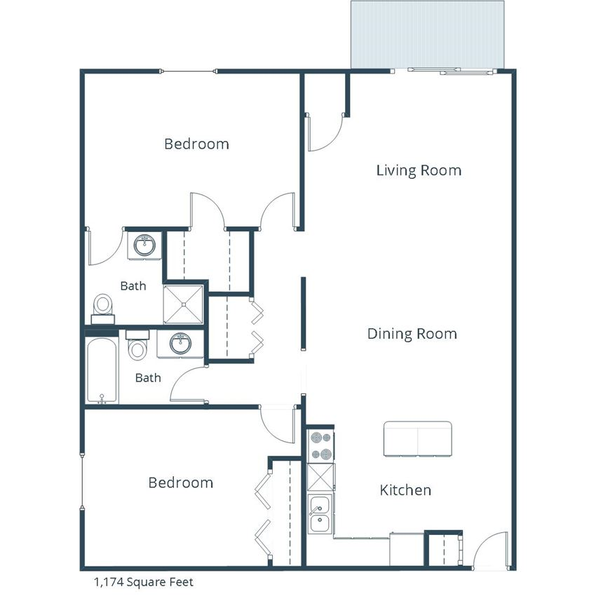 Georgetown on the River Apartments | Two Bedroom Two Bath Floor Plan A
