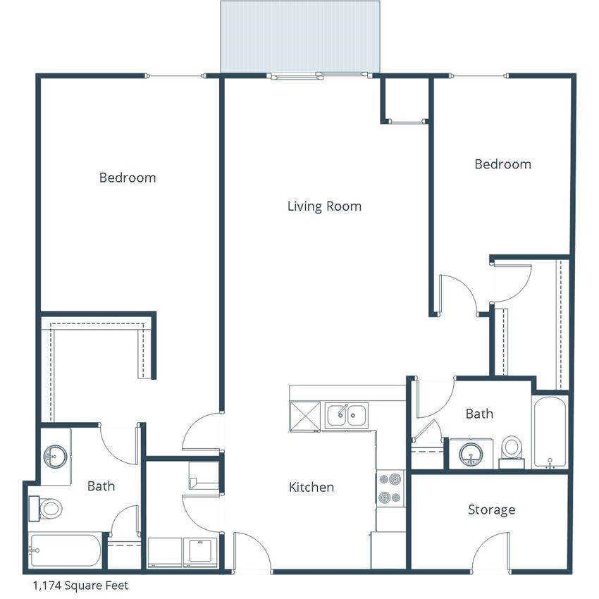 Georgetown on the River Apartments | Two Bedroom Two Bath Floor Plan B