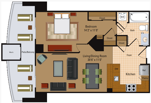 1 Bedroom, 1 Bath - A1 Floor Plan 2