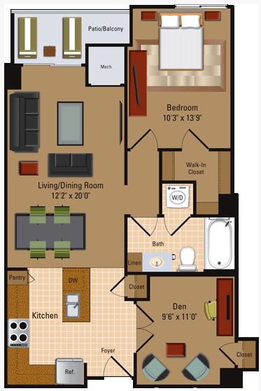 1 Bedroom, 1 Bath + Den - A4D Floor Plan 4