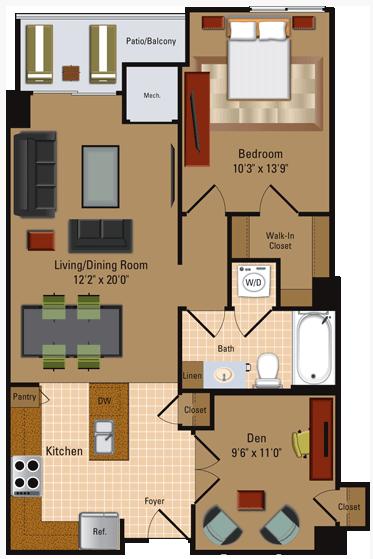 1 Bedroom, 1 Bath + Den - A4D