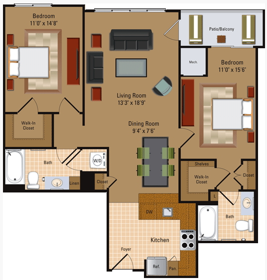 2 Bedroom, 2 Bath - B1 Floor Plan 5