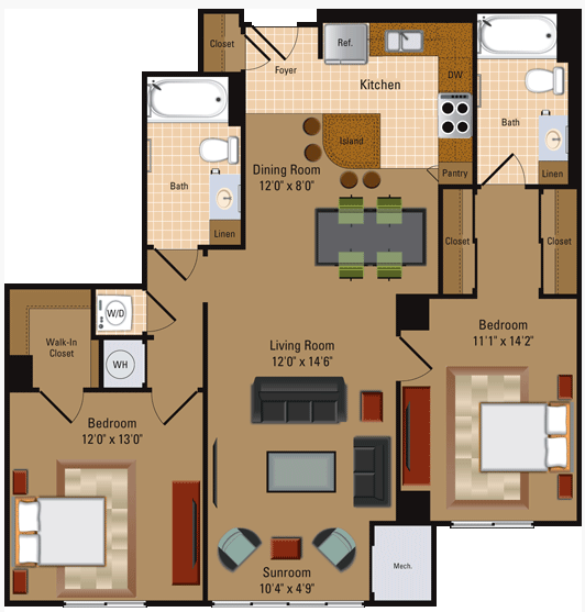 2 Bedroom, 2 Bath - B2 Floor Plan 6
