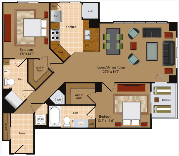 2 Bedroom, 2 Bath - B3 Floor Plan 7
