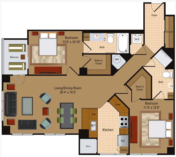 2 Bedroom, 2 Bath - B4 Floor Plan 8