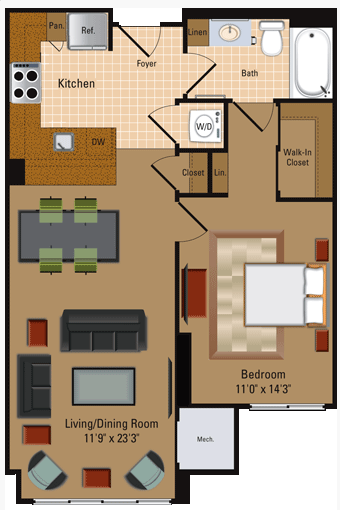 1 Bedroom, 1 Bath - A2 Floor Plan 3
