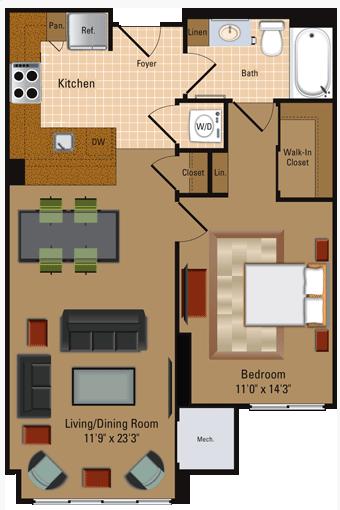 1 Bedroom, 1 Bath - A2