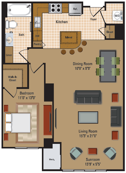 1 Bedroom, 1 Bath - A3 Floor Plan 5
