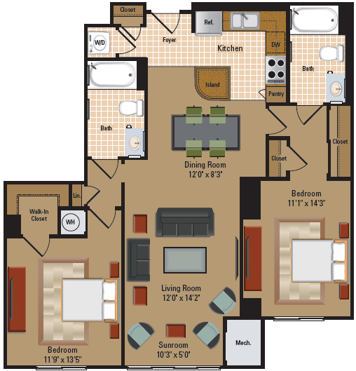2 Bedroom, 2 Bath - B5 Floor Plan 9