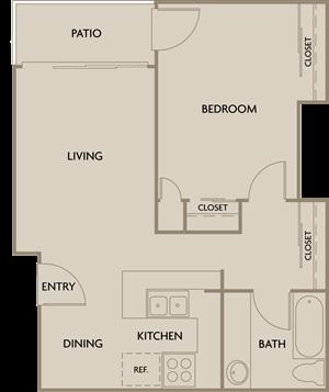 1 Bed 1 Bath Plan D