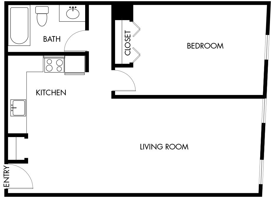 1 Bedroom (A14) Floor Plan 11