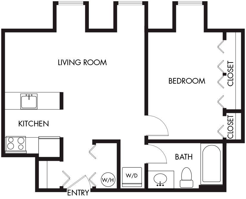 1 Bedroom (A1-3E) Floor Plan 15