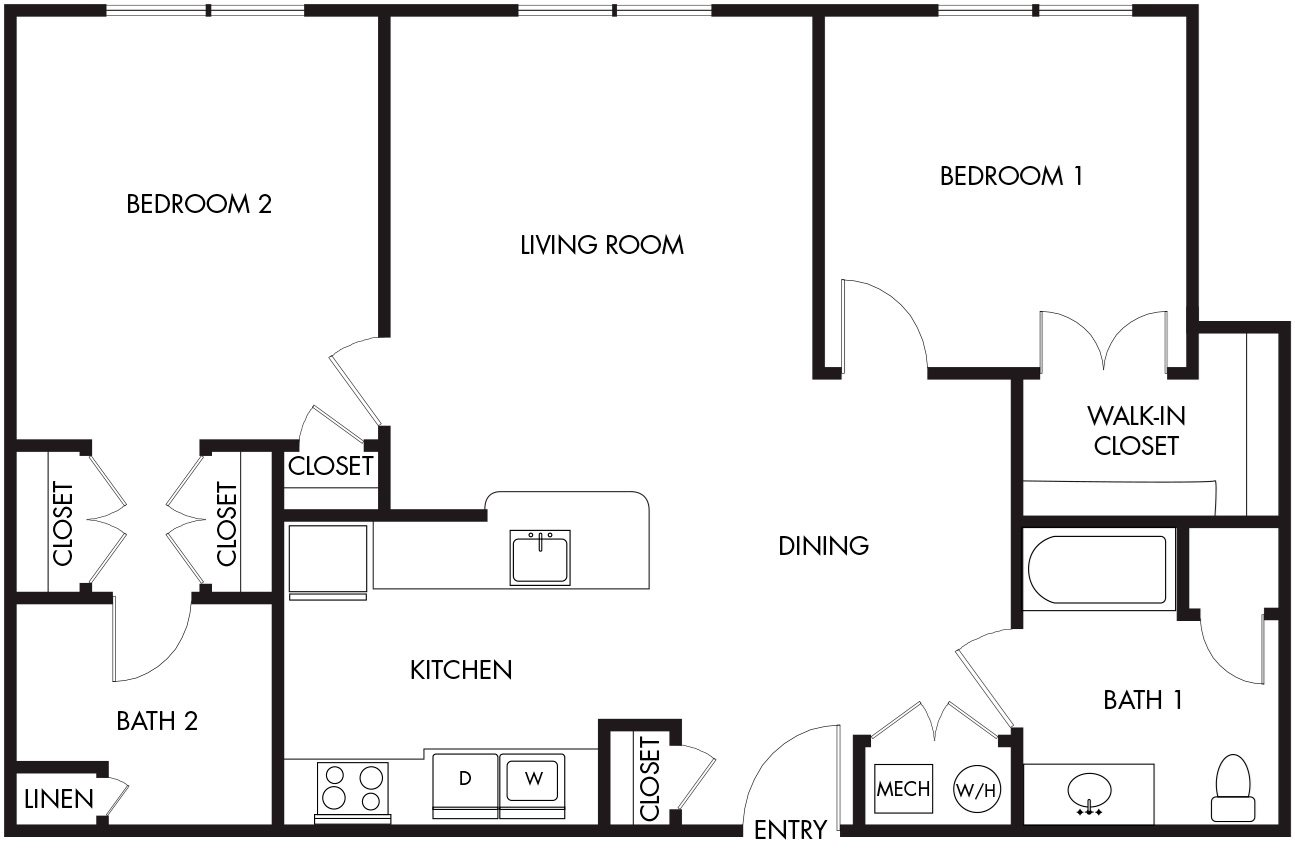 2 Bedroom (39-1C) Floor Plan 6