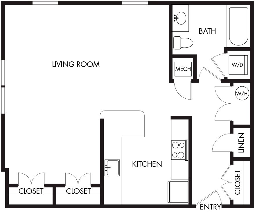 Studio (39-2E) Floor Plan 4