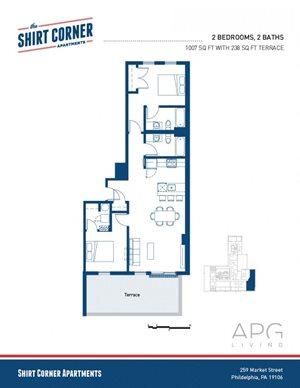 2 Bedroom w Terrace - Floor Plan 2