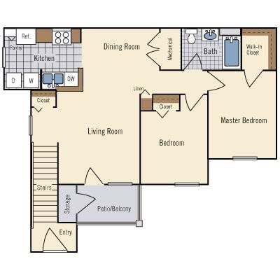 2 Bedroom Floor Plan 3