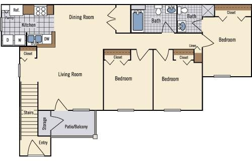 3 Bedroom Floor Plan 4