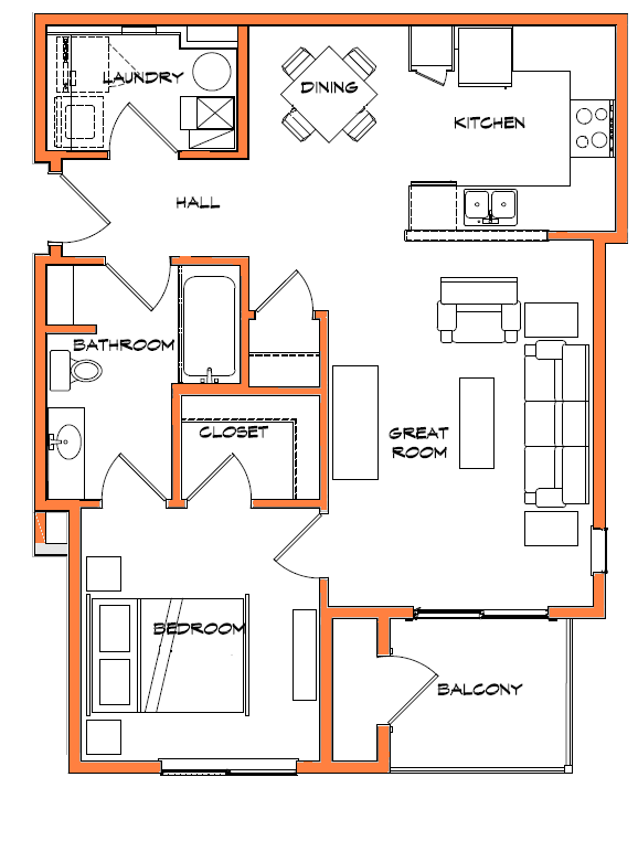1 Bedroom Floor Plan 1