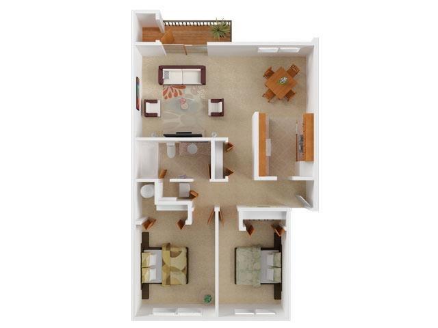 Two Bedroom Floor Plan 4
