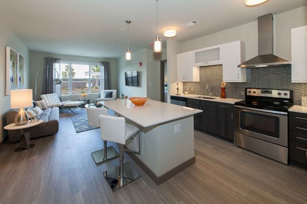 Kitchens Rich with Tile Backsplashes, Quartz Countertops, and a Kitchen Island at The Tremont, Burlington, 01803