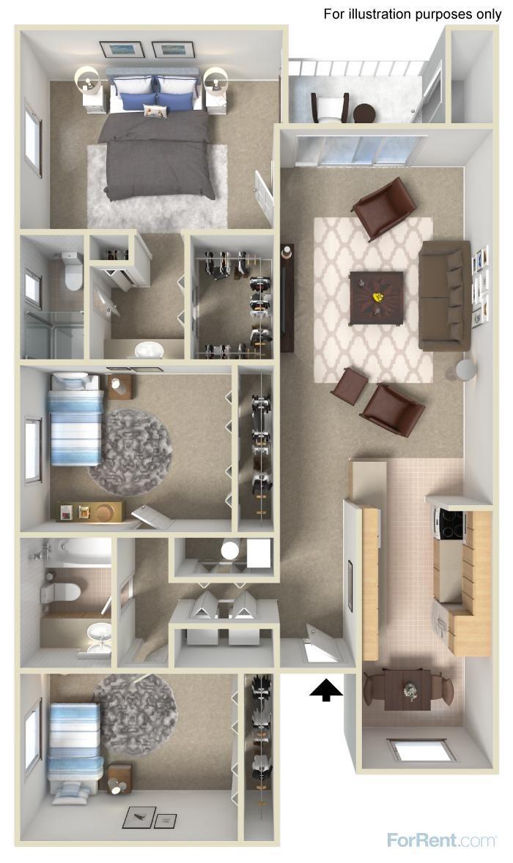 3 Bed 2 Bath Floor Plan 6