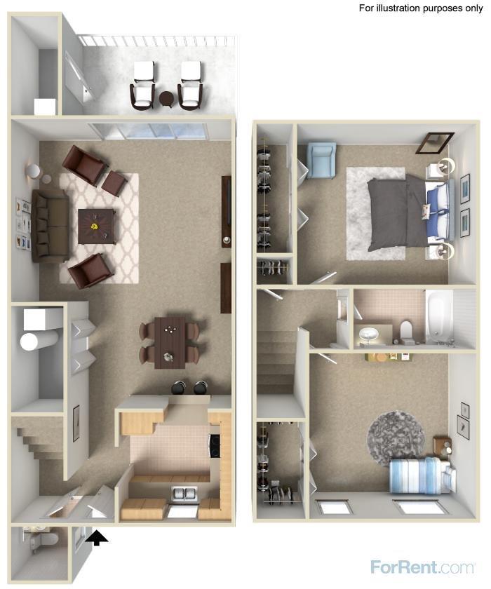 2 Bed 1.5 Bath Floor Plan 2