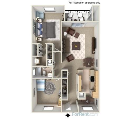 2 Bed 1 Bath Large Floor Plan 4
