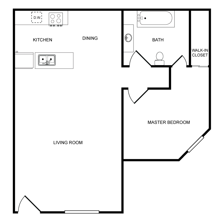 Highland View - 1 Bedroom Floor Plan 7