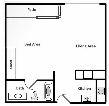 Highland View - Jr. Studio Floor Plan 6