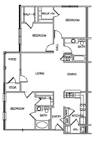 Floor Plans of Reserve at Park Place Apartments in ...