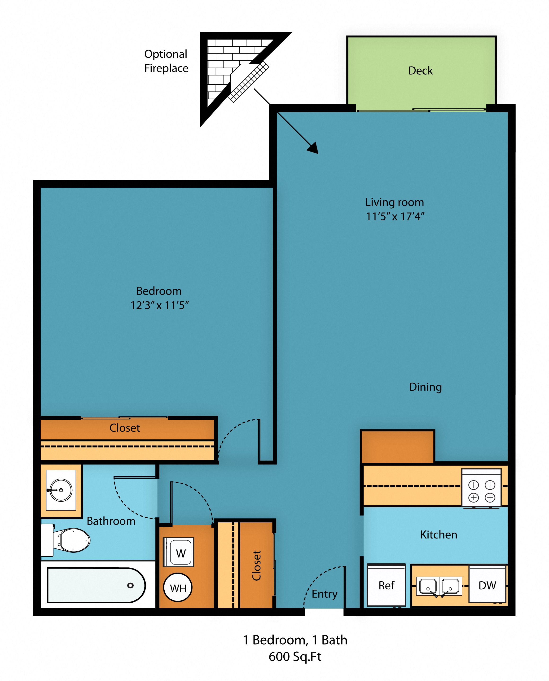 1 Bed 1 Bath Floor Plan 3