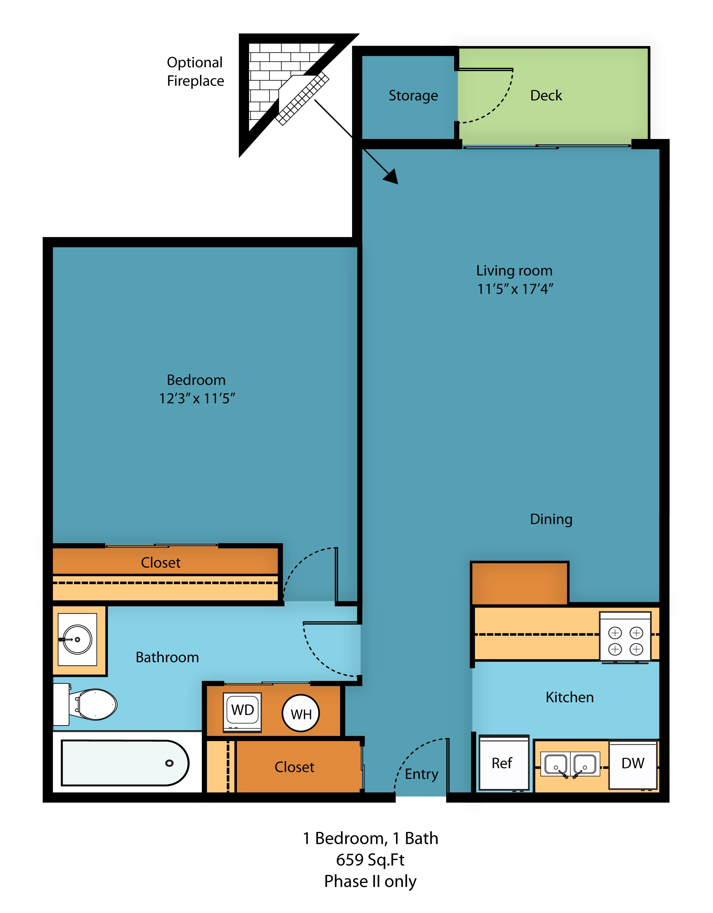 1 Bed 1 Bath A Floor Plan 4