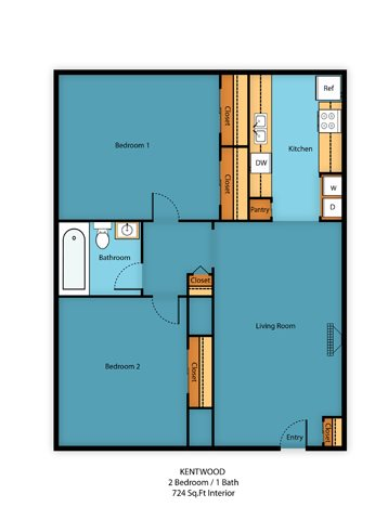 2 Bed 1 Bath c Floor Plan 2