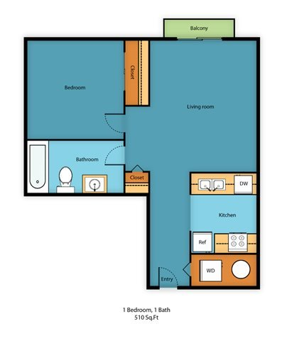 One Bed One Bath A Floor Plan 1