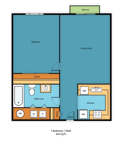 One Bed One Bath C Floor Plan 3