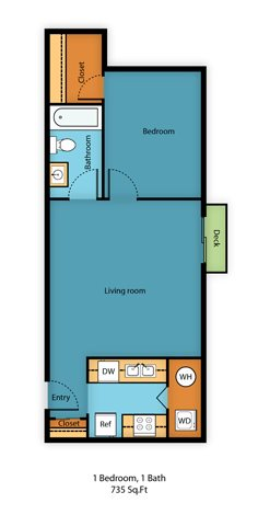 One Bed One Bath D Floor Plan 4