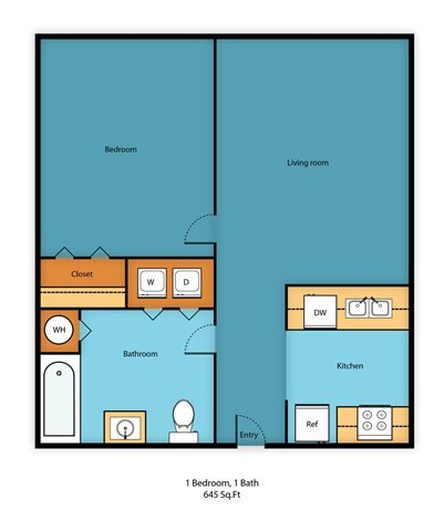One Bed One Bath H Floor Plan 5