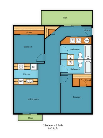 Two Bed Two Bath D Floor Plan 9
